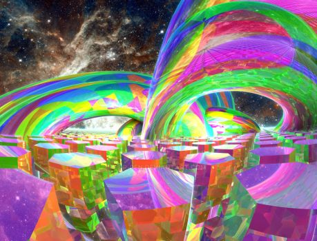 Color Beams in Space by Dr-Pen