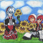 COLORED TRADITIONAL: Sunflower Meadow by InvaderIka