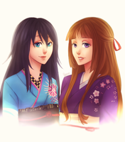 :C: Shirahime and Miyo by WernoZaur