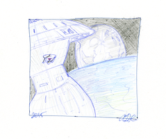 Spacedock and Enterprise Sketch by AdamTSC