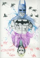 Batman and Joker Watercolour painting by givemesomebrohoof