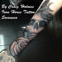 Skull sleeve by Craig Holmes @ Iron Horse tattoo by CraigHolmesTattoo