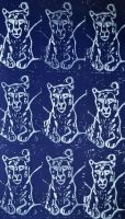 White on Blue Snow Leopard Repeat Lino Print by Erinwolf1997