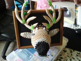 Deer Head-3D Origami by esmeraldaarribas
