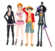 MMD Luffy Nami Robin Brook by miku-chan91