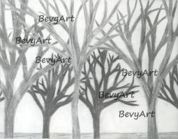 Charcoal Trees by BevyArt