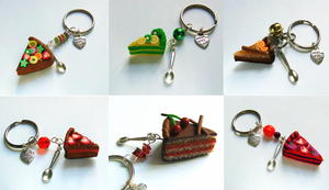 Polymer Clay Cake Keychains by Wind-UpLadybug