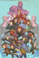 XMen  Days of Future Past full team by DavidRapozaArt