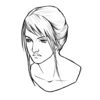 Woman Portrait Lines by XeiArt