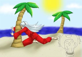 InuYasha and Palm Tree-Comish by kojika