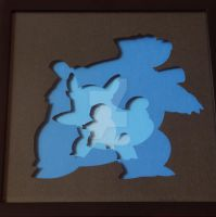 Pokemon Squirtle Evolution Shadowbox by ShadowOfDorkness