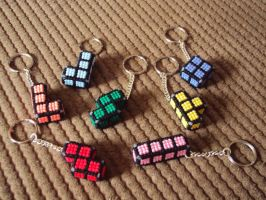 Tetris keyrings by Alondra-chui