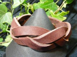 brown leather braid bracelet by BacktoEarthCreations