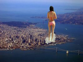 GIANTESS VICTORIA JUSTICE IN BIKINI by darthbriboy