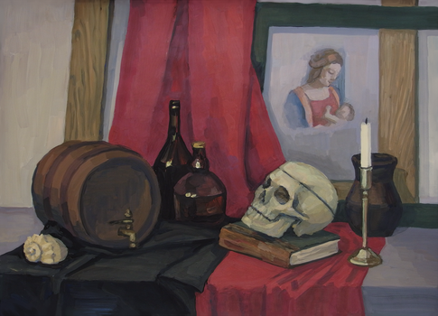 Still life with skull by dragon--of--fate