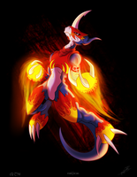 Collab: Flamedramon by RinaTiger-Art