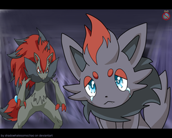 CM: Zoroark and Zorua / sad by shadowhatesomochao