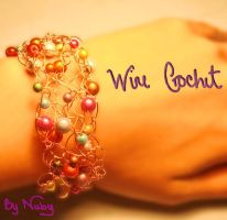 Wire Crochet wide bracelet by colourful-blossom