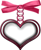 Heart hanging from Pink Ribbon by Paw-Prints-Designs