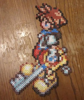 Sora from Kingdom Hearts made with Perler beads by yolei-s