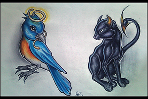 Cat and Bluebird by tattoo-parlour