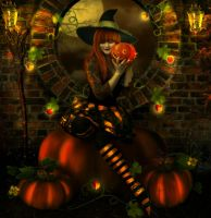 Pumpkin witch by ArtbyValerie