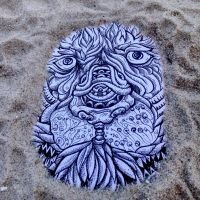 Lion on the beach by dehydrated1