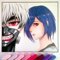 Kaneki and Touka - Tokyo Ghoul Fan Art Drawing by LethalChris