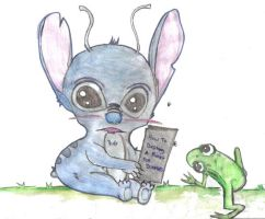 Young Stitch and a frog by peonyroyale