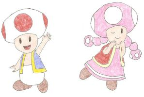 Toad and Toadette by DoctorEvil06