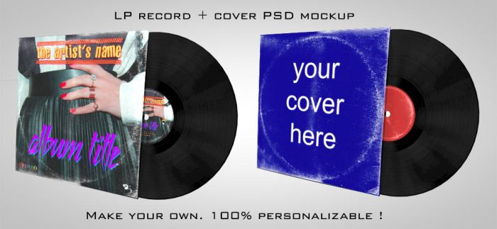 LP vinyle record + cover PSD mockup by staiff