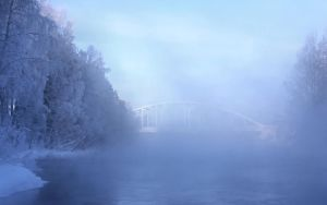 Bridge in the fog - 34 degree celsius by KariLiimatainen