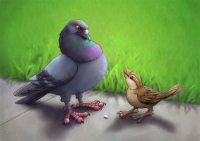 Pigeon vs. Sparrow II by Almayer