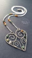 Wire Wrapped Heart Necklace With Green Mossy Agate by WireMoonJewelry