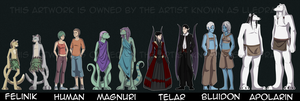 Sahnlinn Species Lineup by lledra