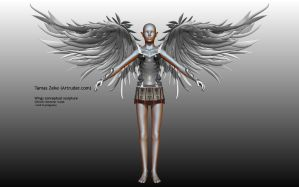 Wings conceptual sculpture - Front by Artruder