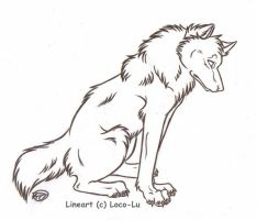 FREE Wolf Lineart by Loco-Lu