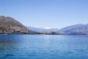 NZ soft rippled lake to mountain BG by Chunga-Stock