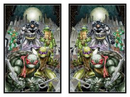 Batman and the TMNT in 3D Mirror by xmancyclops