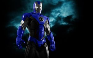 Iron Man Blue Lantern Armor by 666Darks