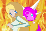 Liz and Halca as rival by HeroHeart001