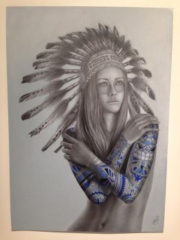 Native Girl Tattoo by timecore