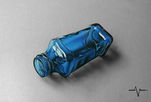 Blue Glass bottle - Realistic Drawing by Anubhavg