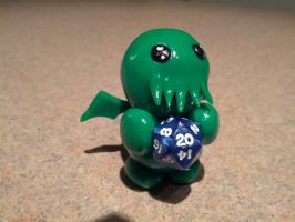 Little Fat Cthulhu with mini-d20 by LittleFatDragons