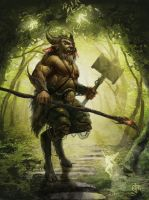 Satyr and The Fairy Forest by elmst000