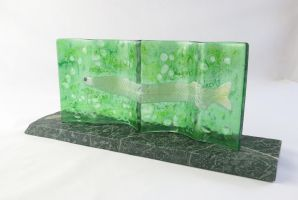 Tarpon Leptocephalus Fused Glass Sculpture by trilobiteglassworks