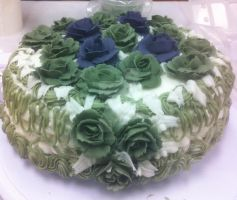 Green Roses Cake by InkArtWriter