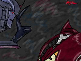 Starscream and Knockout by Blurrnee