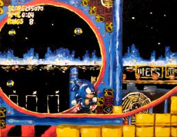 Sonic the Hedgehog Painting by steverinoz