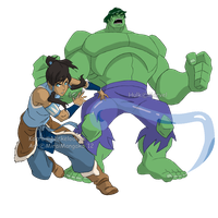 Hulk and Korra: Two Worlds by MiraiMangaka